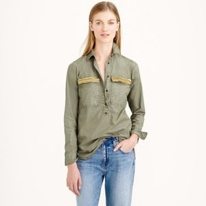 JCrew Military 1/4 Button Down Pullover Top